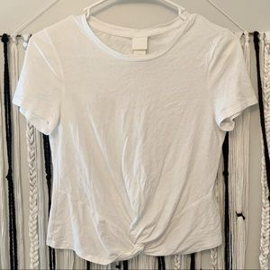 H&M- White cropped knot tee